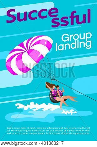 Successful Group Landing Is Amazing Poster Vector Template. Paragliding. Brochure, Cover, Booklet Pa