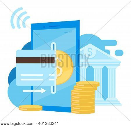 Easy To Use Banking App Flat Vector Illustration. Credit Card Financial Transactions Cartoon Concept