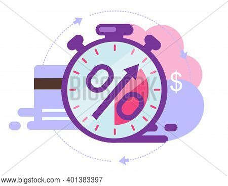 Time Is Money Flat Vector Illustration. Invoice Payment Term Cartoon Concept. Investment Period Isol