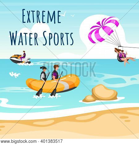 Extreme Water Sport Social Media Post Mockup. Couple Beach Activities. Advertising Web Banner Design