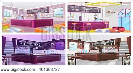 Coffeehouse Interior Flat Vector Illustrations Set. Luxury Restaurant Furnishing Inside. Empty Bar,