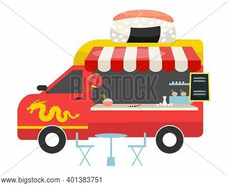 Asian Fusion Food Truck Flat Vector Illustration. Red Bus With Counter, Table, Chairs. Street Meal C