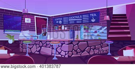 Nightclub Interior Flat Vector Illustration. Stylized Brick And Stone Walls Decor. Cartoon Tables An