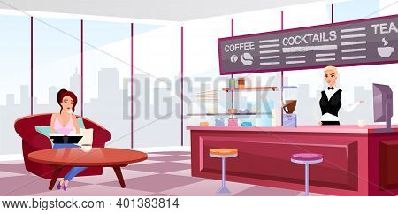 Megapolis Coffeehouse Interior Flat Vector Illustration. Young Girl In Comfortable Armchair Drinking