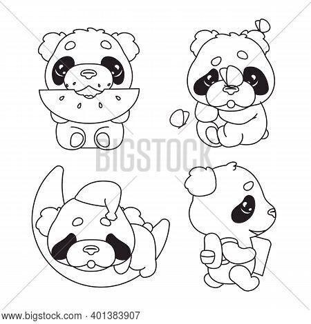 Cute Panda Kawaii Linear Characters Pack. Adorable And Funny Animal Eating Watermelon, Sleeping, Bac