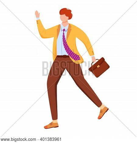 Male Office Worker Flat Vector Illustration. Person Hurrying To Business Meeting. Late For Work Empl