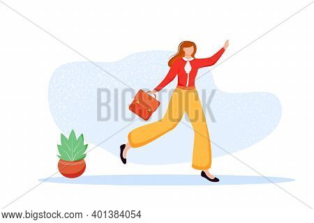 Office Worker Flat Vector Illustration. Employee With Briefcase Going To Meeting. Female Staff Membe