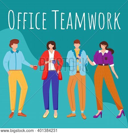 Office Teamwork Social Media Post Mockup. Colleagues At Lunchtime. Advertising Web Banner Design Tem