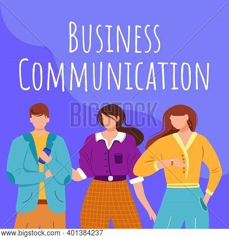 Business Communication Social Media Post Mockup. Employee Interaction. Advertising Web Banner Design