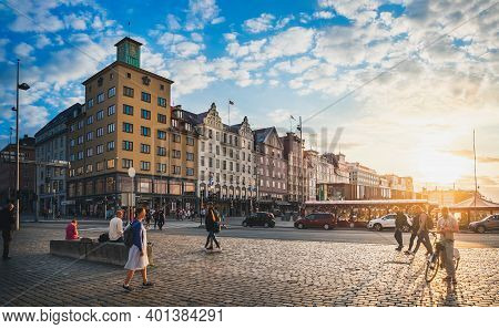 Bergen, Norway - August 1, 2018: Summer Cityscape View Of Old Town Port Houses, Famous Fish And Flow