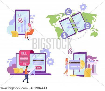 Online Banking Flat Vector Illustrations Set. Deposit High Interest Rate Concept. Billing System, Cr