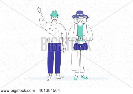 Retired People Flat Vector Illustration. Senior Age Family. Elderly Man Waving. Old Couple In Outerw
