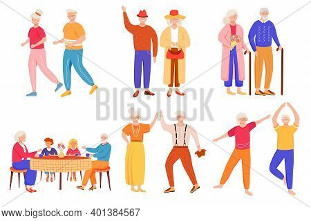 Retired People Flat Vector Illustrations Set. Senior Age Family Romantic Pastime. Healthy Lifestyle.