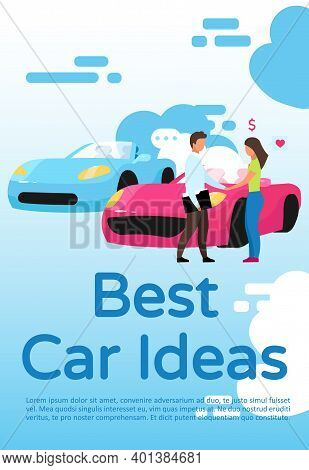 Best Car Ideas Poster Vector Template. Brochure, Cover, Booklet Page Concept Design With Flat Illust