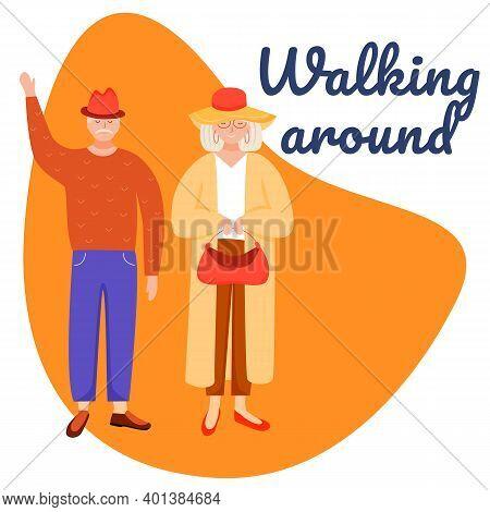 Walking Around Social Media Post Mockup. Retired People. Senior Age Family. Advertising Web Banner D