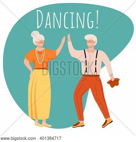 Dancing Social Media Post Mockup. Retired People. Romantic Pastime. Advertising Web Banner Design Te