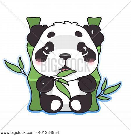 Cute Panda Eating Bamboo Kawaii Cartoon Vector Character. Adorable, Happy And Funny Animal Enjoy Foo