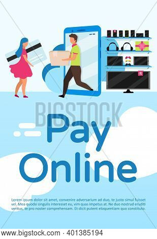 Pay Online Poster Vector Template. Cashless Payment On Website Marketplace. Brochure, Cover, Booklet
