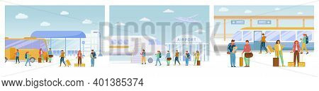 Traveling Flat Vector Illustrations Set. Bus Stop, Airport, Railway Station. Vacation Trip. Journey