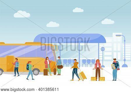 Bus Station Platform Flat Vector Illustration. Public Transport Service. Urban Transportation. Vacat