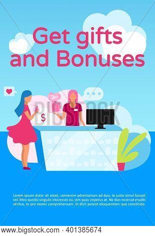 Get Gifts And Bonuses Poster Vector Template. Store Loyalty, Membership Program. Brochure, Cover, Bo