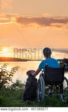Boy in wheelchair at sunset with dog