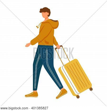 Man With Luggage Flat Vector Illustration. Holiday Travel. Male Person Going With Baggage. Young Cau