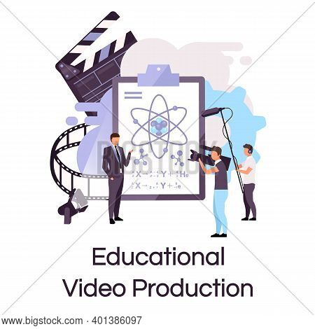 Educational Video Production Flat Concept Icon. Tutorial, Science Lecture Shooting Sticker, Clipart.