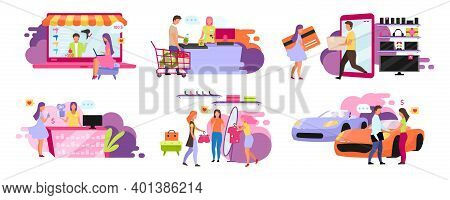 Customers And Sellers Flat Vector Illustrations Set. Purchasing Goods, Ordering Delivery Online, On