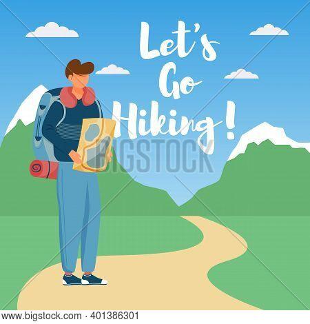Let Go Hiking Social Media Post Mockup. Trekking Guide. Tour Company. Advertising Web Banner Design