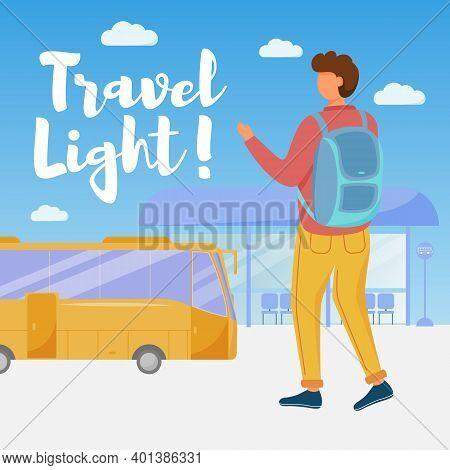 Travel Light Social Media Post Mockup. Bus Passenger Transportation. Advertising Web Banner Design T