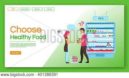 Choose Healthy Food Landing Page Vector Template. Family Shopping, Consumerism Website, Webpage. Con