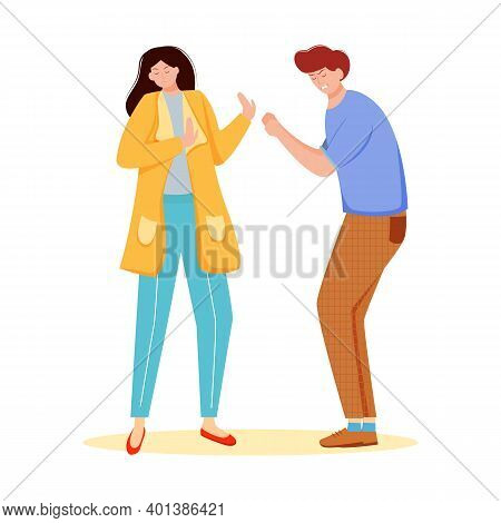 Trouble Relationship Flat Vector Illustration. Family Conflict. Married Couple Dispute. Husband And