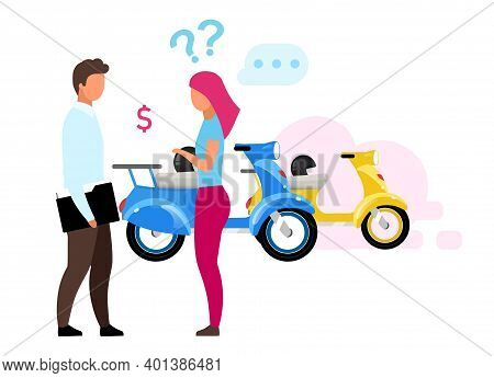 Girl Renting Scooter Flat Vector Illustration. Woman Making Decision, Sales Agent Helping Customer C