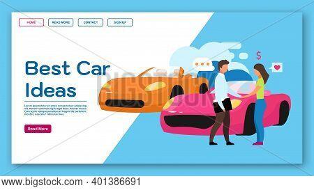 Best Car Ideas Landing Page Vector Template. Dealership Website Interface Idea With Flat Illustratio