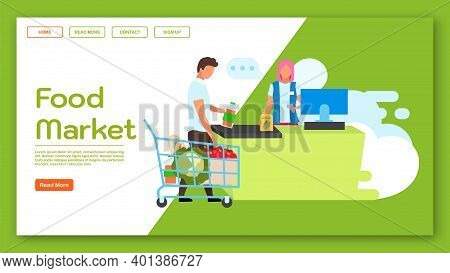 Food Market Landing Page Vector Template. Supermarket Website Interface Idea With Flat Illustrations