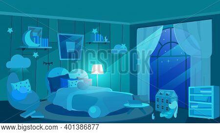 Children Bedroom At Night Flat Vector Illustration. Kids Room Interior In Blue Shades. Moonlight Ray