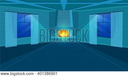 Fireplace In Room Flat Vector Illustration. Stylized Brick Wall In Interior Design. Empty Living Roo