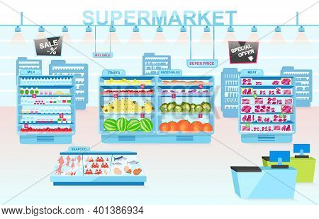 Supermarket Departments Flat Vector Illustration. Shelves With Different Products. Vegetables, Meat,