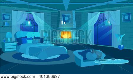Old House Bedroom Interior At Night Flat Vector Illustration. Huge Bed Near Panoramic Window. Cartoo