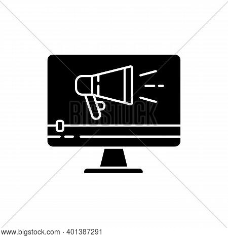 Tv Commercial Black Glyph Icon. Marketing Promotion. Video Production. Digital Advertisement Content
