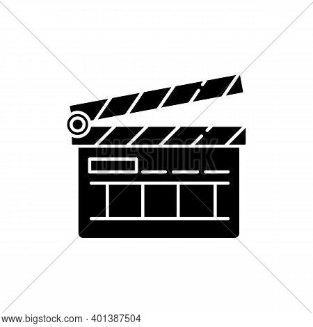 Clapperboard Black Glyph Icon. Filmmaking Industry. Video And Tv Production. Cinematography Slate Bo