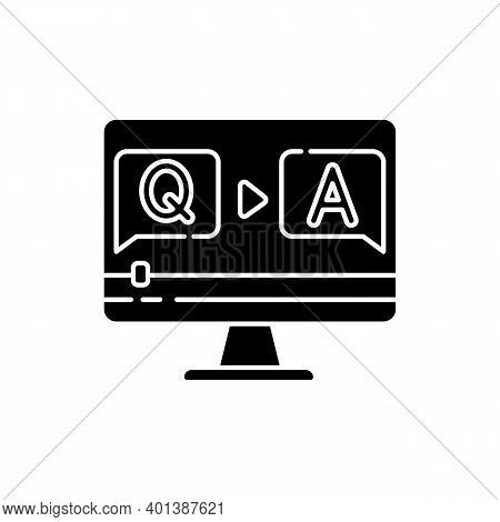 Question And Answer Video Black Glyph Icon. Journalist Interview Footage. Blogger Q And A Stream. On