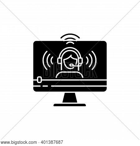 Web Streaming Black Glyph Icon. Video Blogging. Vlogger Online Channel. Digital Content Creating. In