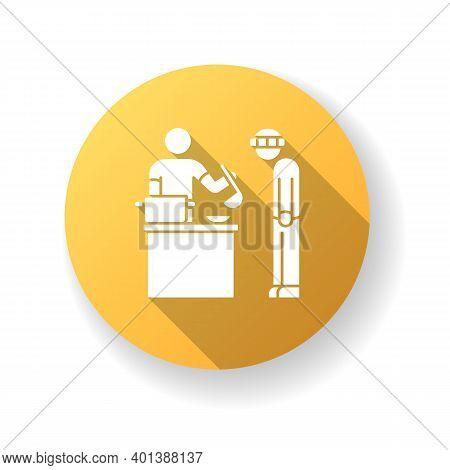 Food Bank Yellow Flat Design Long Shadow Glyph Icon. Humanitarian Aid To Homeless People. Volunteer