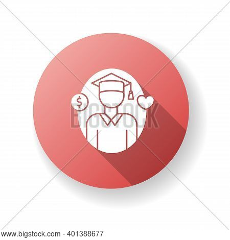 Support For Students Red Flat Design Long Shadow Glyph Icon. Education Loan. Financial Aid For Unive