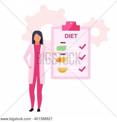 Dietary Nutrition Plan Flat Vector Illustration. Female Nutritionist Prescribing Healthy Food For Lo