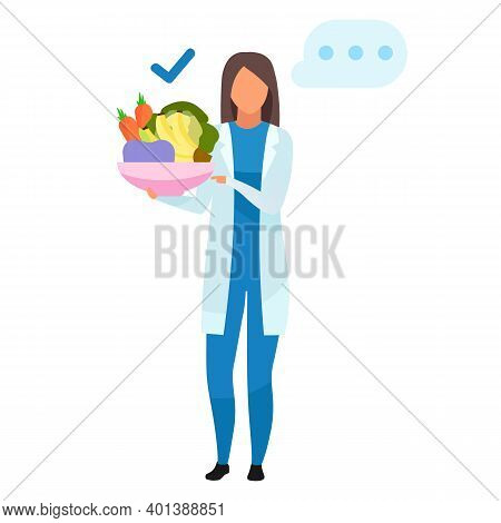 Doctor With Healthy Food Flat Vector Illustration. Nutritionist Holding Bowl With Fruits, Vegetables