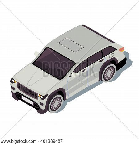 Car Isometric Color Vector Illustration. City Transport Infographic. Crossover Suv. Off-road Vehicle