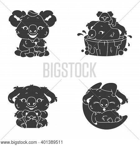 Cute Koala Kawaii Character Glyph Icons Set. Adorable And Funny Animal Bathing Eating Eucalyptus And